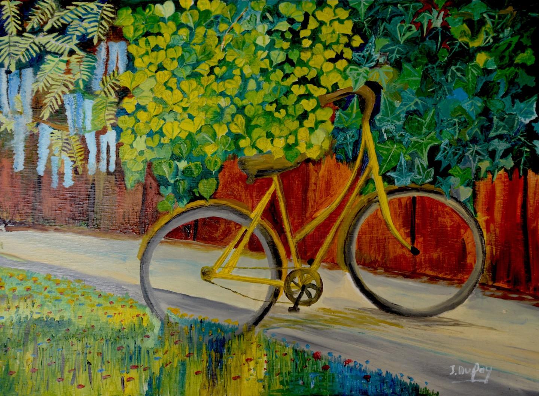 Jérôme Dufay - Le vieux vélo jaune contre un mur